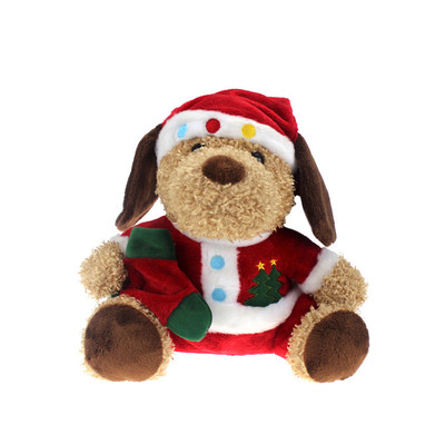 Soft Plush Christmas Toy Dog With Santa Hat Supplier