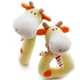 Customized Plush Baby Comforter Rattle Toy Soft Hand Bell