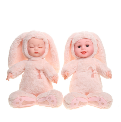 Cute High Quality Vinyl Stuffed Sleeping Baby Comforter Plush Toy