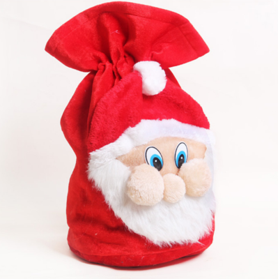 Drawstring Christmas Santa Plush Candy Bag Xmas Gift Bag