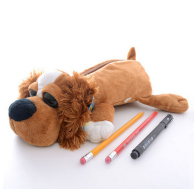 Custom Plush Animal Dog Pencil Case For Kids Gift